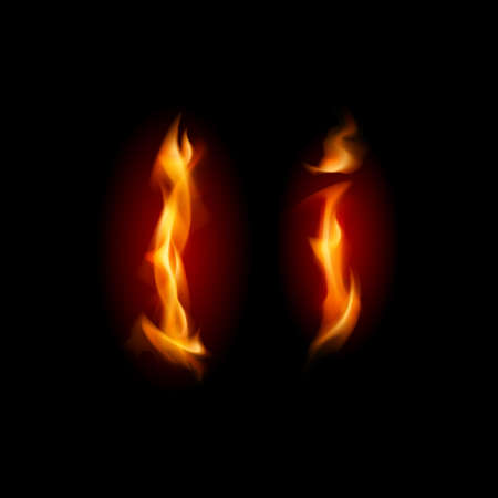 fire font: Fiery font. Letter I. Illustration on black background Illustration