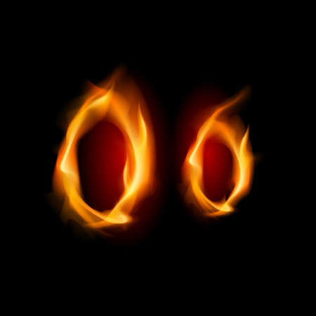 flame letters: Fiery font. Letter O. Illustration on black background