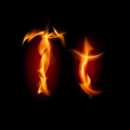 fiery font: Fiery Schriftart. Buchstaben T. Illustration auf schwarzem Hintergrund Illustration