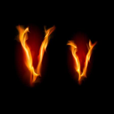 fiery font: Fiery Schriftart. Brief V. Illustration auf schwarzem Hintergrund