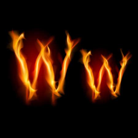 Fiery font. Letter W. Illustration on black background Vector