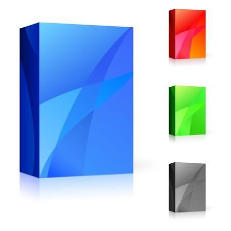 Caja de CD de diferentes colores. Ilustración sobre fondo blanco para el diseño.