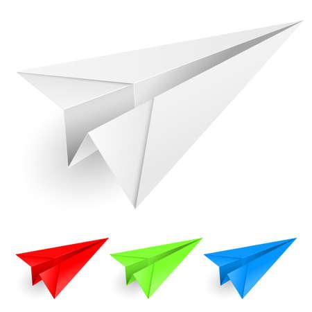 avi�n juguete: Aviones de papel colorido. Ilustraci�n sobre fondo blanco para el dise�o.