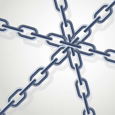 Realistic gray chain on the white background. Illustration for designer Vector