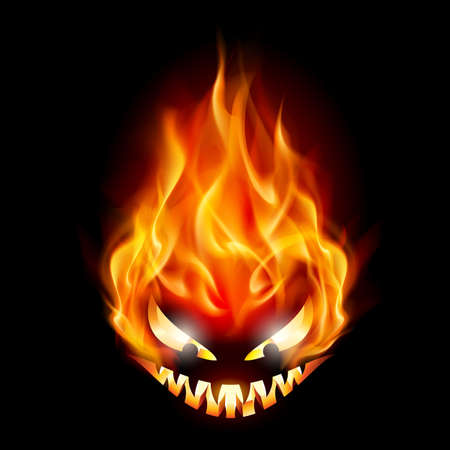 evil: Evil burning Halloween symbol. Illustration on black background