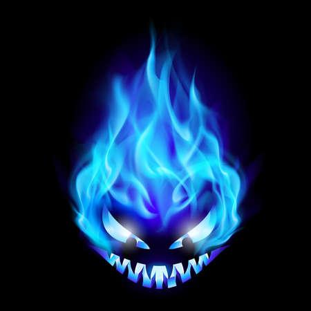 resplandor: Azul s�mbolo de Halloween quemado mal. Ilustraci�n sobre fondo negro