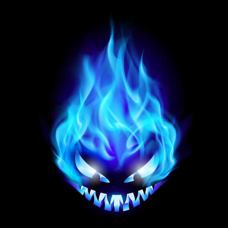 Blue Evil burning Halloween symbol. Illustration on black background Vector