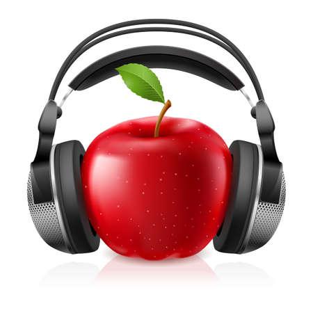 earbud: Auricular equipo realista con manzana roja. Ilustraci�n sobre fondo blanco
