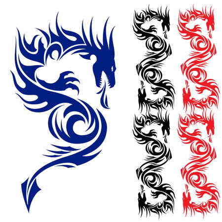 black and white dragon: Asian pattern tattoo. Dragon. Illustration on white background.