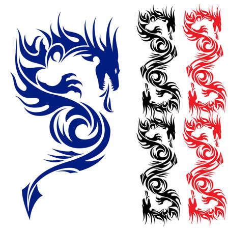 Tatuaje patrón asiático. Dragón. Ilustración sobre fondo blanco.