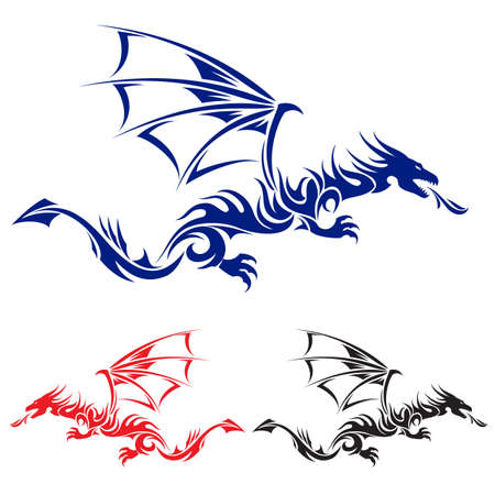 tribal dragon: Flying Dragon. Blue, red and black Asian tattoo. Illustration on white background.