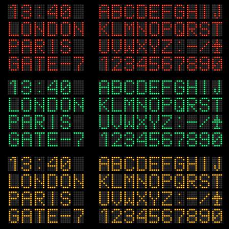 creeping: Conjunto de letras y s�mbolos de color rojo, verde y amarillo alfabeto progresiva l�nea