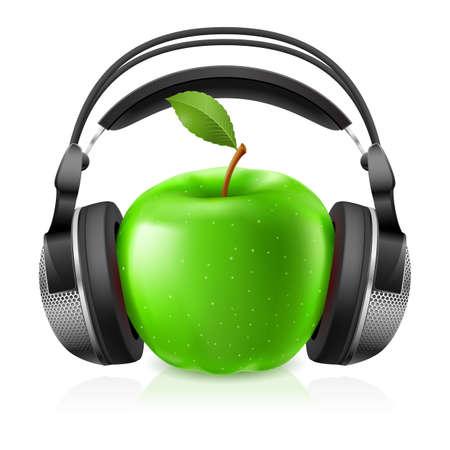audifonos: Auriculares realista y manzana verde. Ilustraci�n sobre fondo blanco para el dise�o Vectores