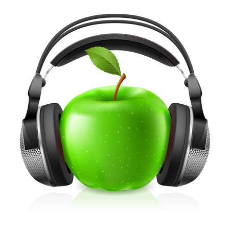 portable audio: Realistic headphones and green apple. Illustration on white background for design