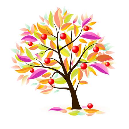 albero frutta: Melo stilizzato. Illustrazione su sfondo bianco