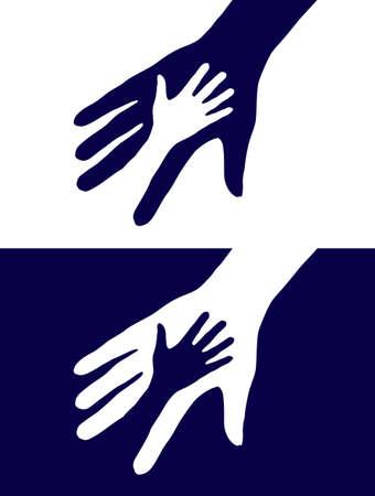 familia en la iglesia: Resumen de fondo blanco y negro. Dos manos silueta. Vectores