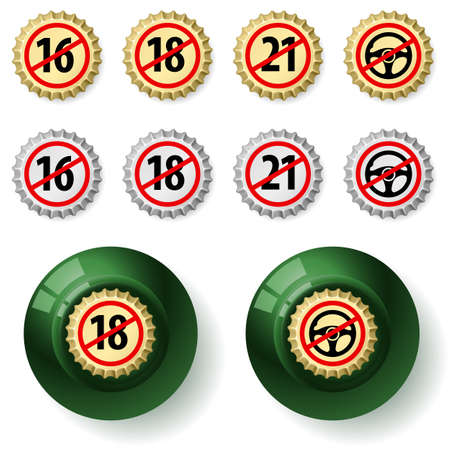 Bottle caps.  Illustration on white background Vector