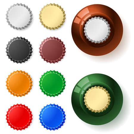 botellas de cerveza: Tapa de la botella multicolor. Ilustración sobre fondo blanco