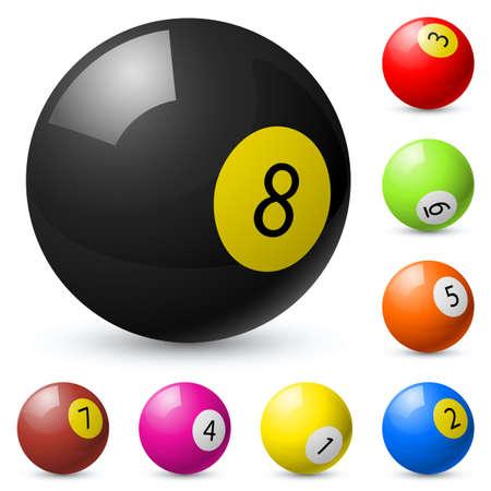 bola ocho: Bolas de billar fuera de billar americano. Ilustración sobre fondo blanco
