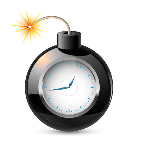detonate: Clock in a bomb. Illustration on white background