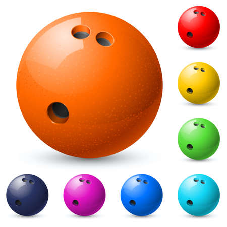 bolos: Juego de bolas de boliche. Ilustración sobre fondo blanco. Vectores