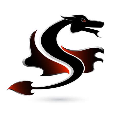 samourai: Résumé du dragon noir. Illustration sur fond blanc pour la conception.