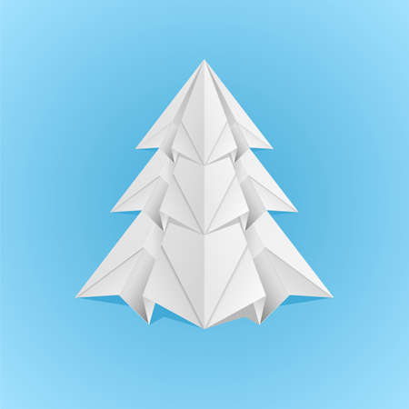 Paper Christmas Tree. Illustration on blue background Vector