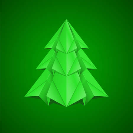 Paper Christmas Tree. Illustration on green background Vector