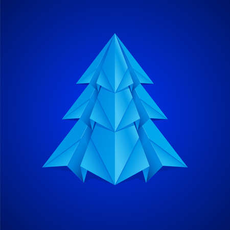 Paper Christmas Tree. Illustration on navy background Vector