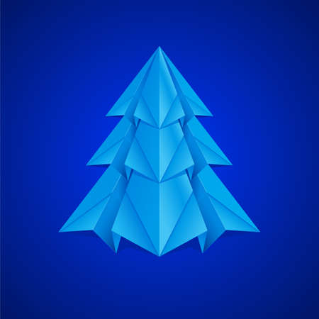 Paper Christmas Tree. Illustration on navy background illustration
