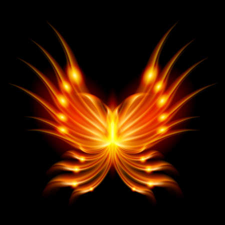 heart wings: Flying butterfly with fiery wings. Abstract Illustration on black background
