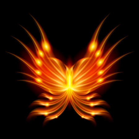 Flying butterfly with fiery wings. Abstract Illustration on black background illustration