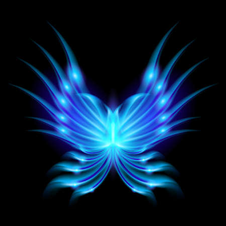 Blue Flying butterfly with fiery wings. Abstract Illustration on black background Vector