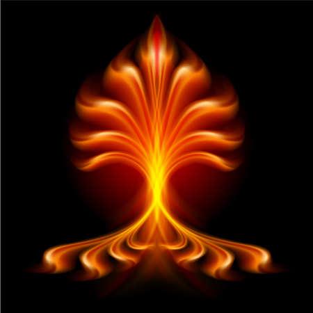 flamboyant: Fiery lettertype. Brief B. Illustratie op zwarte achtergrond Stock Illustratie