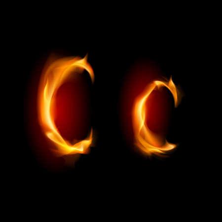 flamboyant: Fiery font. Letter C. Illustration on black background
