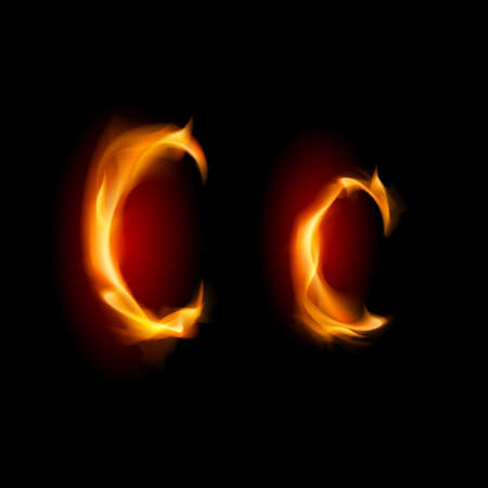 fiery font: Fiery Schriftart. Brief C. Illustration auf schwarzem Hintergrund Illustration