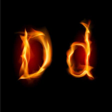 tongues of fire: Raster version. Fiery font. Letter D. Illustration on black background Illustration