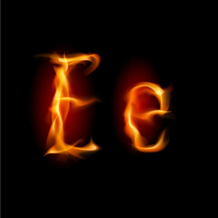 Fiery font. Letter E. Illustration on black background