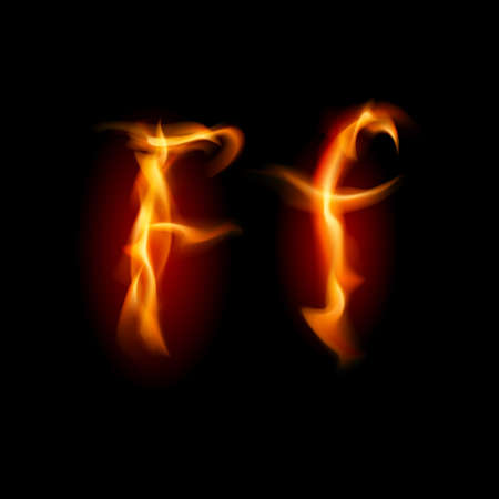Fiery font. Letter F. Illustration on black background illustration
