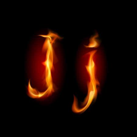 Fiery font. Letter J. Illustration on black background