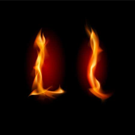 Fiery font. Letter L. Illustration on black background Illustration
