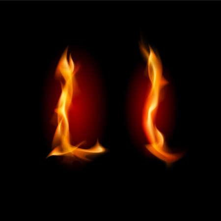 Fiery font. Letter L. Illustration on black background Stock Photo