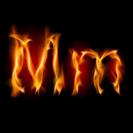 Fiery font. Letter M. Illustration on black background illustration