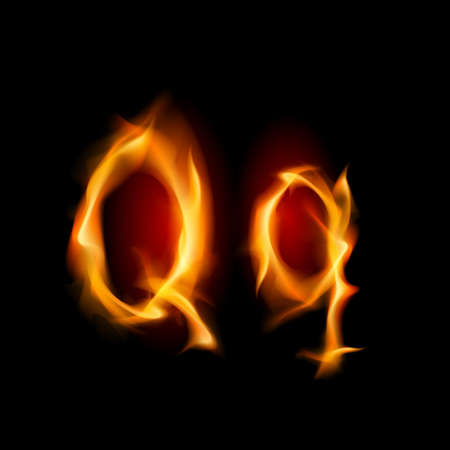 fiery font: Fiery Schriftart. Brief Q. Illustration auf schwarzem Hintergrund