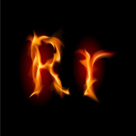 letter r: Fiery font. Letter R. Illustration on black background Stock Photo