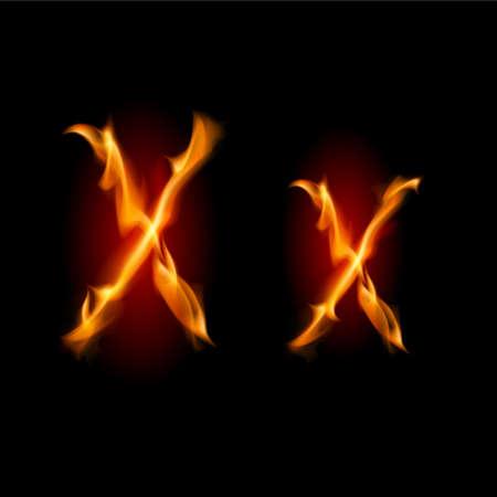 Raster version. Fiery font. Letter U. Illustration on black background illustration