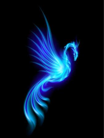 phoenix bird: Burning blue phoenix isolated over black background  Illustration