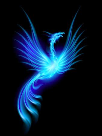 美しい青燃焼フェニックス。黒の背景上分離の図