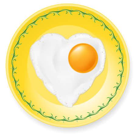 romance bed: Heart-shaped fried egg on plate. Illustration on white background Illustration