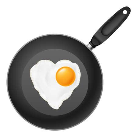 Koekenpan met hart-vormige gebakken ei. Illustratie op een witte achtergrond